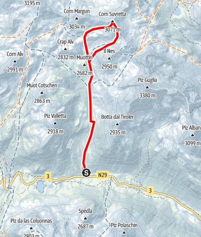 Map / Corn Suvretta 3072 m ü.M