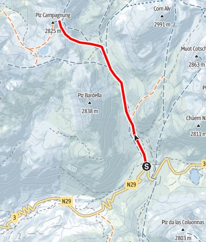 Kaart / Piz Campagnung 2826 m ü.M.