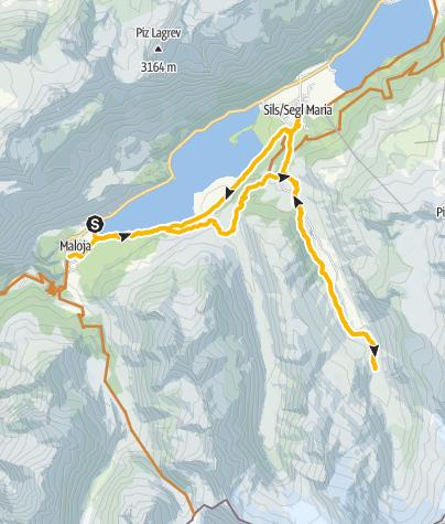 Map / Maloja - Cad'Starnam - Ped Preir (- Sils i.E...)