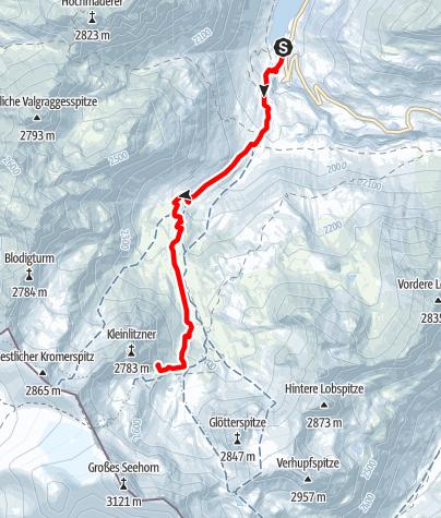 Karte / Saarbrücker Hütte (2.538m)