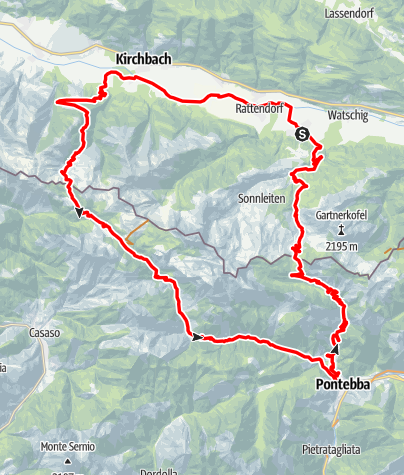 Karte / K1 - Straniger Alm - Pontebba