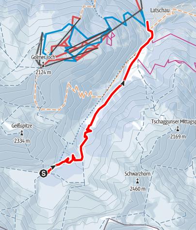 Karte / Naturrodelbahn Lindauer Hütte - Latschau (Gauertal)