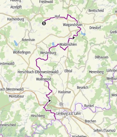 Map / Auf der Westerwaldschleife vom Abzweig Bad Marienberg nach Diez/Lahn