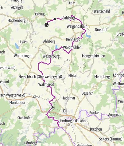 Kaart / Auf der Westerwaldschleife vom Abzweig Bad Marienberg nach Diez/Lahn