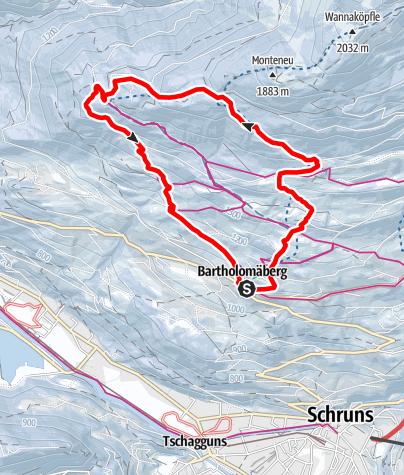 Karte / Von Bartholomäberg über Jagdhütte nach Rellseck