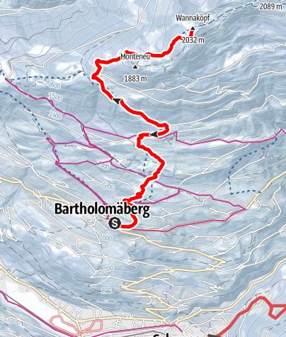 Karte / Von Bartholomäberg über Monteneu auf die Wannaköpf