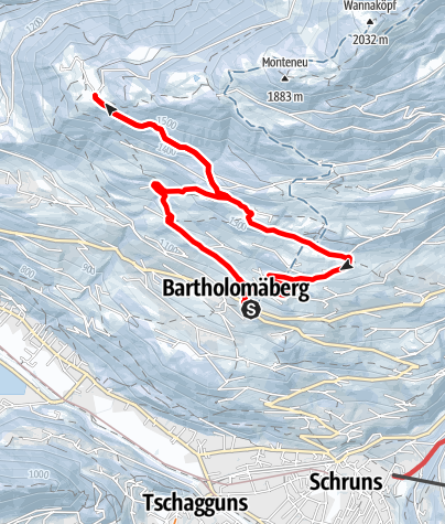 Karte / Von Bartholomäberg über Goritschang nach Rellseck