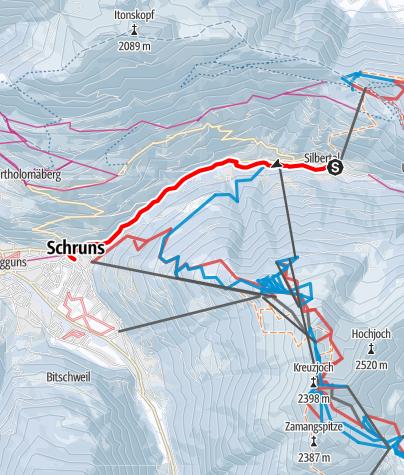 Karte / Von Silbertal entlang der Litz nach Schruns