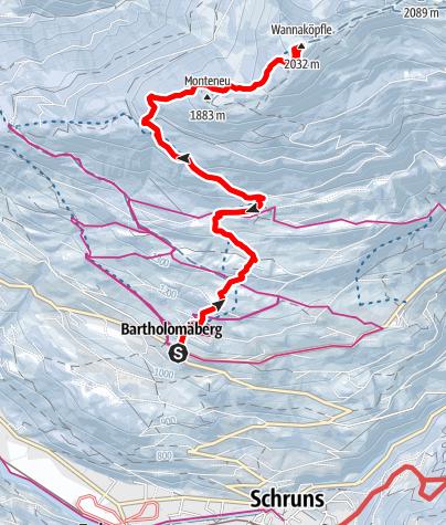 Karte / Bartholomäberg - Wannaköpf (2.031m)