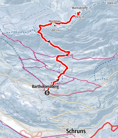 Kaart / Bartholomäberg - Wannaköpfle (2031m)