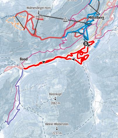 Karte / Steinbock Loipe - Bödmen - Baad