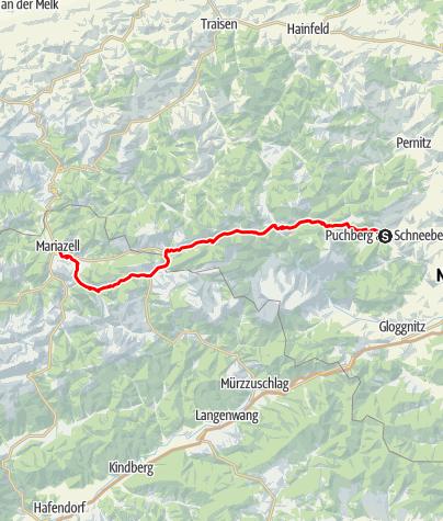 Karte / Pilgerweg von Puchberg am Schneeberg nach Mariazell