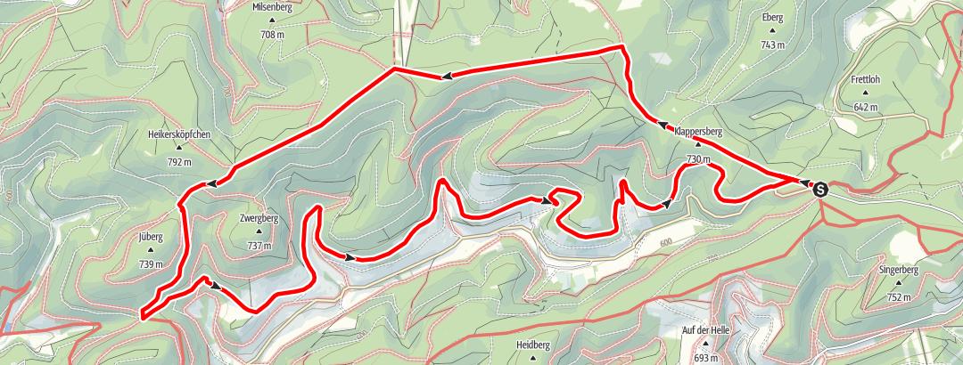 Kaart / Höhenflug rondlopende route door het Sorpedal
