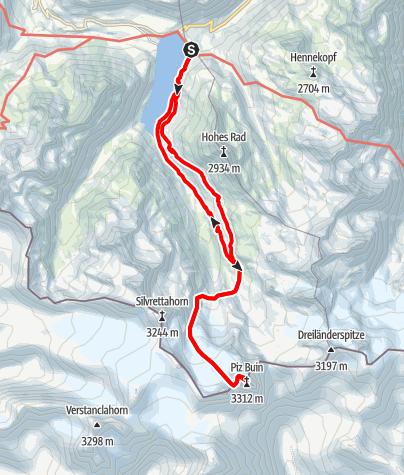 Karte / Bergtour auf den höchsten Gipfel Vorarlbergs, den Piz Buin (3.312 m)
