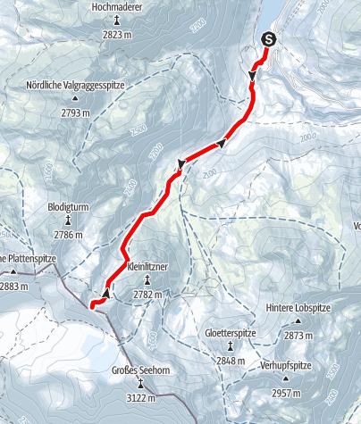 Karte / Skitour auf die Kromerscharte