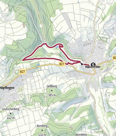 Karte / Von edlen Rittern,  Mühlen und Madonnen - Spaziergang im unteren Erfatal