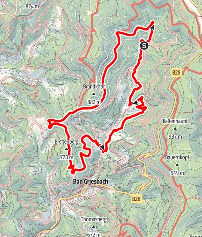"""Karte / Schwarzwälder Wandersinfonie:  Der  Wiesensteig in Bad Peterstal-Griesbach - eine Tour  für """"Genusssucher"""""""