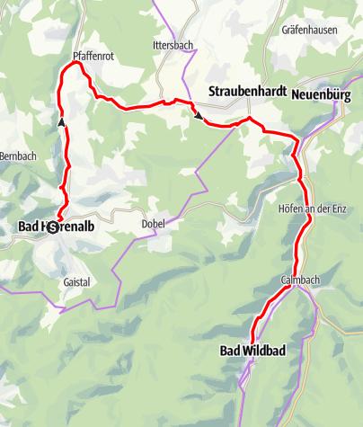 Karte / Tour nach Bad Wildbad über die Schwanner Warte (KONUS)