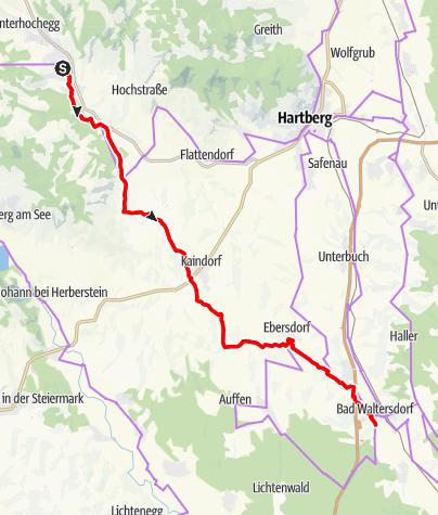 Karte / Safental Radtour Pöllau - Bad Waltersdorf (R57, HB18)