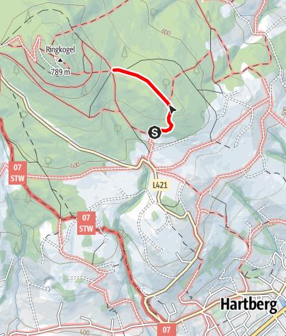Karte / Aufstieg zur Ringwarte - über Schöpferbankerl-Wiese