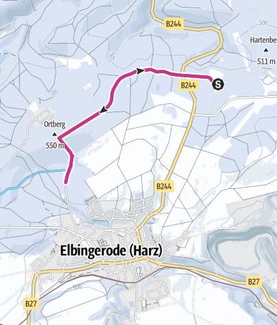Karte / Winterwanderweg vom Waldgasthaus Hirschbrunnen zum Schaubergwerk Büchenberg