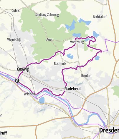 Map / Elbe-Moritzburg-Lößnitzgrund-Radroute
