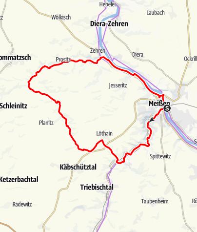 """Karte / """"Meißner 8"""" - Nordroute"""