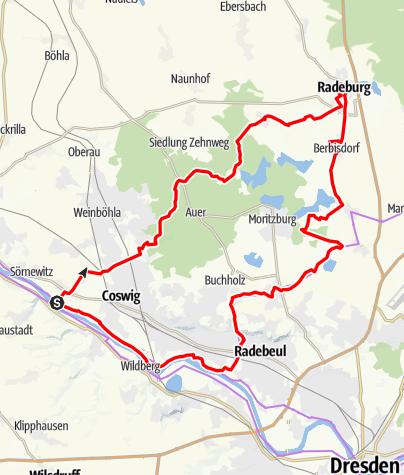 Karte / Zille-Radweg - Von der Elbe nach Radeburg