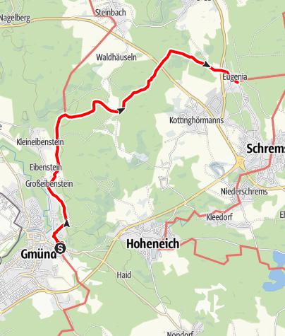 Map / Thayatalweg 630 - 3. Etappe: Gmünd - Eugenia