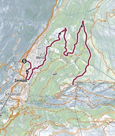 Karte / Bike-Tour Rothorn-Zermatt (Nr. 22)
