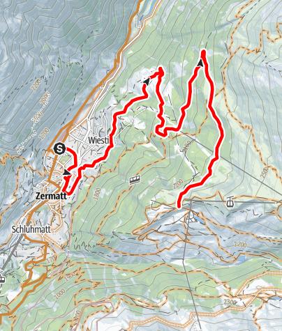 Carte / Itinéraire VTT Rothorn-Zermatt (Nr. 22)