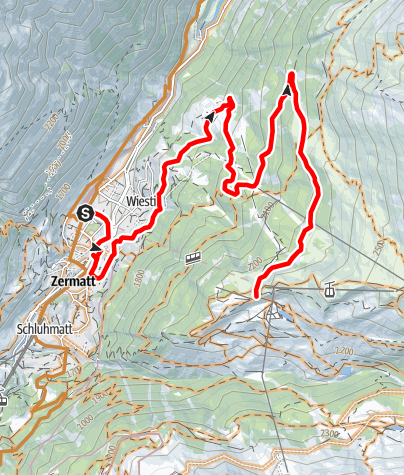 Map / Bike tour Rothorn - Zermatt (Nr. 22)