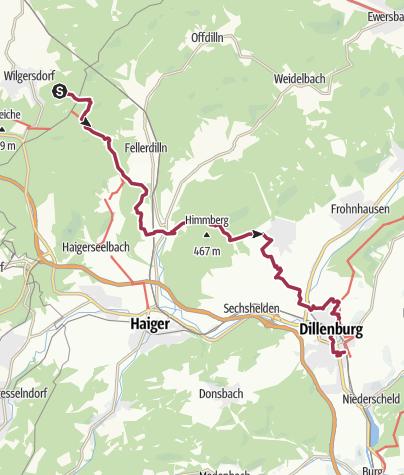 Karte / Rothaarsteig 8. Etappe: Von Wilgersdorf nach Dillenburg