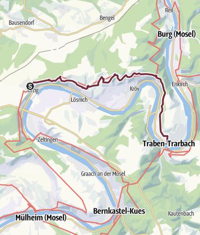 Karte / Moselsteig Etappe 12: Ürzig – Traben-Trarbach