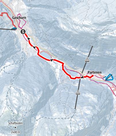 Karte / Gaschurn über das Rifabecken nach Partenen (Bofa) und retour