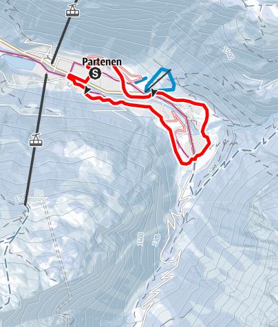 Map / Ortsrunde Partenen über Gufelste, Mautstelle, Loch und Lifinar