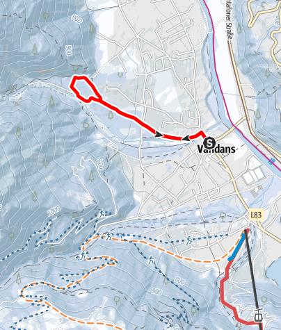 Kaart / Vom Ortszentrum Vandans zum Scheibenkopf