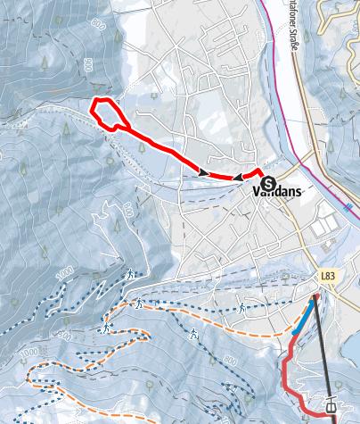 Map / Vom Ortszentrum Vandans zum Scheibenkopf