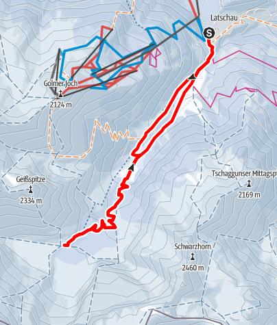Karte / Von Latschau durchs Gauertal zur Lindauer Hütte
