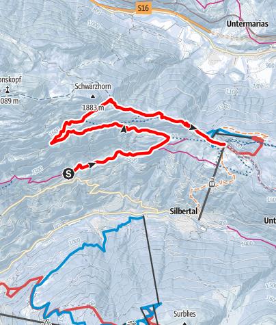 Karte / Innerberg über Falla auf den Kristberg