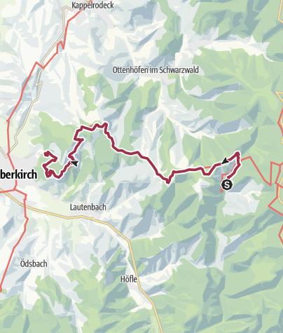 Karte / Renchtalsteig 5. Etappe; Allerheiligen Wasserfälle - Oberkirch Schauenburg