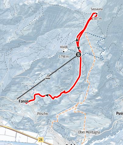 Karte / Sassauna 2307m / Abfahrt Fanas