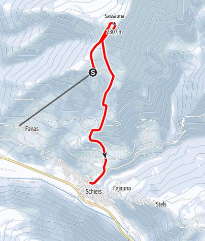Karte / Sassauna 2307m / Abfahrt Schiers
