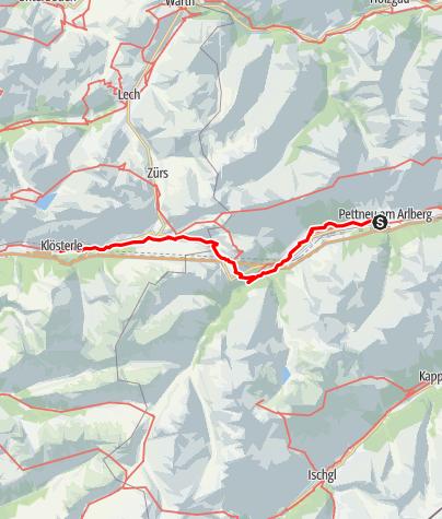 Kaart / Jakobsweg Vorarlberg: Pettneu–Klösterle