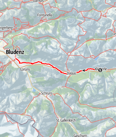 Karte / Jakobsweg Vorarlberg: Klösterle–Bludenz