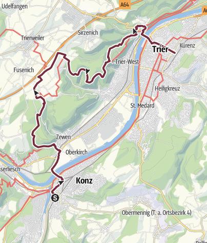 Kaart / Moselsteig etappe 04: Konz – Trier
