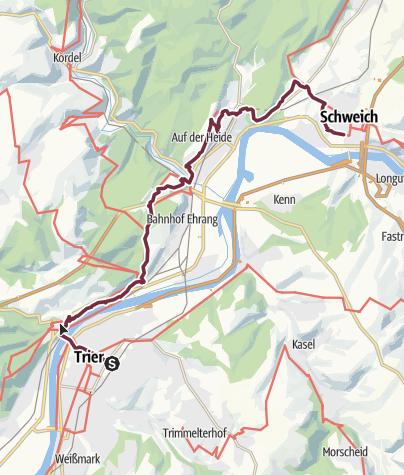 Karte / Moselsteig Etappe 05: Trier – Schweich