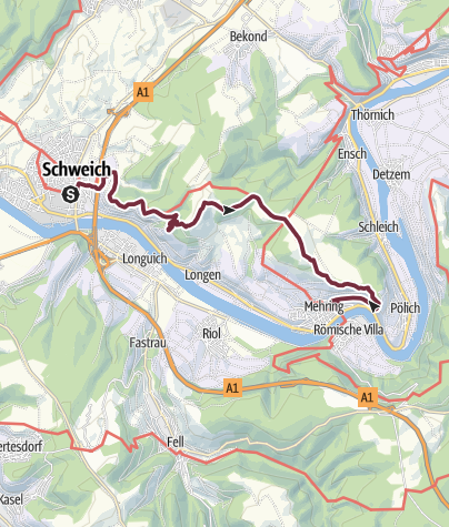 Karte / Moselsteig Etappe 06: Schweich – Mehring