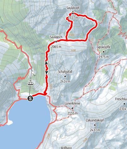 Map / via ferrata Saulakopf Ostwand