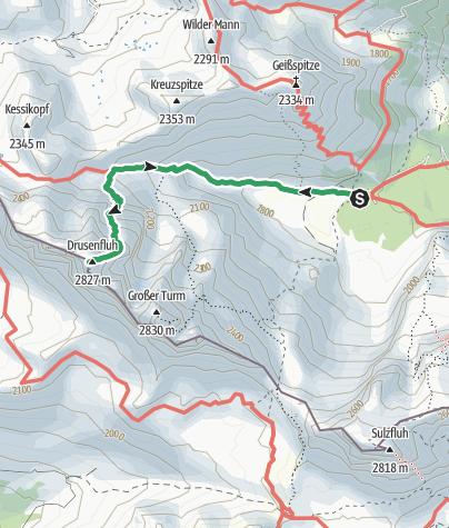 Carte / Klettersteig Blodigrinne - Drusenfluh